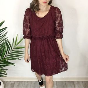 ROSEBUD lace dress burgundy gathered waist 0331